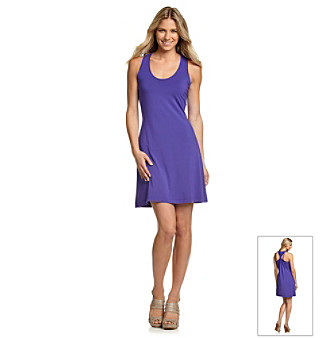 Calvin Klein Grape Short Gathered Racerback Dress