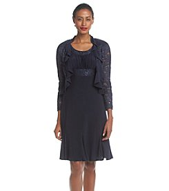 R & M Richards® Navy Lace Jacket over Lace-Trimmed Dress
