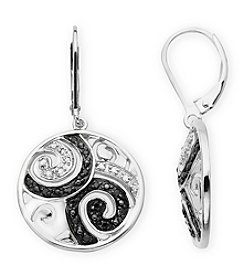 .20 ct. tw Sterling Silver Black And White Diamond Accented Earrings