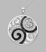Sterling Silver.15 ct.tw Black And White Diamond Accented Pendant 18