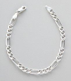 Silver 100 Figaro Chain Bracelet
