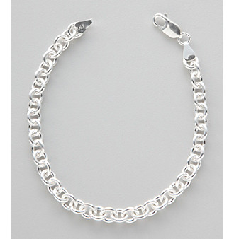 Silver 100 Plain Rolo Chain Bracelet