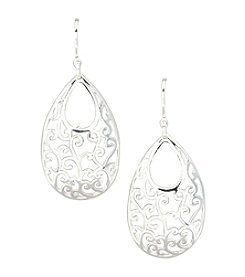 Silver 100 Wire Drop Earrings with Open Oval Scroll Design
