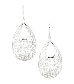 Silver 100 Wire Drop Earrings with Open Oval Scroll Design