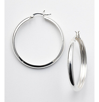 Silver 100 Round Click-Top Hoop Earrings