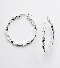 Silver 100 Twisted Click-Top Hoop Earrings
