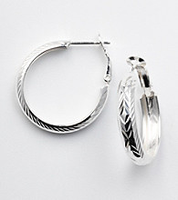 Silver 100 Round Diamond-Cut Click-Top Hoop Earrings