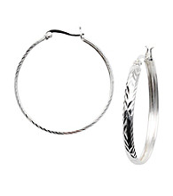 Silver 100 Diamond-Cut Click-Top Hoop Earrings