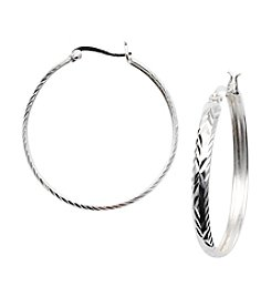 Danecraft Silver 100 Diamond-Cut Click-Top Hoop Earrings