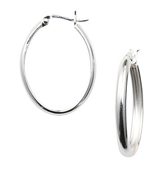 Silver 100 Oval Click-Top Hoop Earrings
