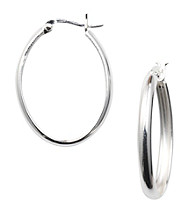 Silver 100 Oval Click-Top Hoop Earrings