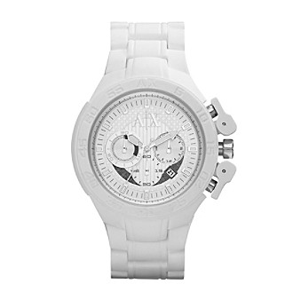 A|X Armani Exchange Men's White Silicone-Wrapped Bracelet Watch