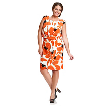 Jessica Simpson Plus Size Poppy Button-Shoulder Printed Dress