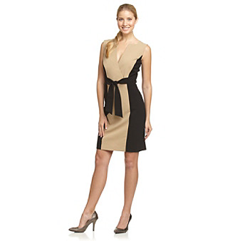 Calvin Klein Tie-Front Camel and Black Colorblock Surplice Dress