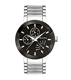 Bulova® Men's Stainless Steel Black Dial Watch