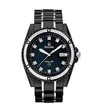 Bulova® Men's Marine Star Black Diamond Dial Watch