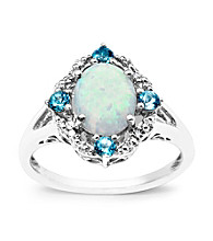 Sterling Silver Diamond-Accented Created Opal with Blue Topaz Oval-Shaped Ring