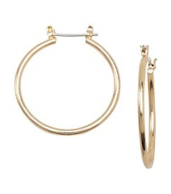 Relativity® Goldtone Medium Sized Clickit Hoop Earring
