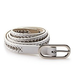 Nine West® Laced Chain Leather Belt - White