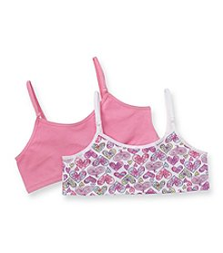 Jockey® Girls' Pink 2-pk. Funky Heart Crop Top Bras with Convertible Straps