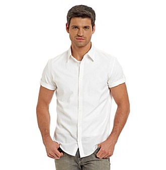 Calvin Klein Men's White Dobby Plaid Buttondown Shirt