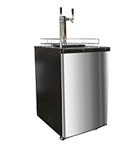 Nostalgia Electrics™ Stainless Steel Double Kegorator Twin Tap Beer Keg Fridge