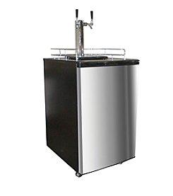 Nostalgia Electrics™ Stainless Steel Double Kegorator Twin Tap Beer Keg Fridge