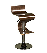 Powell® Carson Walnut & Chrome S-Shaped Adjustable Bar Stool