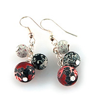 Viva Beads® 3 Bead Cluster Earrings - Candy Apple