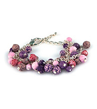 Viva Beads® Beaded Mesh Chain Bracelet - Plum Orchard