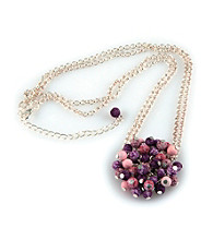 Viva Beads® Flat Cluster Necklace - Plum Orchard