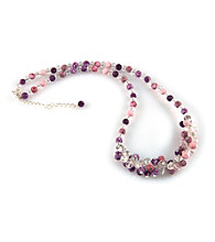 Viva Beads® Crystal Rope Cluster Necklace - Plum Orchard
