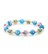 Viva Beads® Cruise Ship 8mm Classic Silverball Bracelet - Blue/Beige