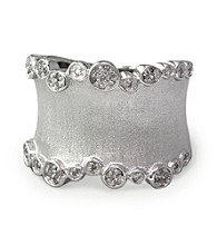 Effy® Sterling Silver Wide-Brushed Band Ring with 0.25 ct. t.w. Diamonds