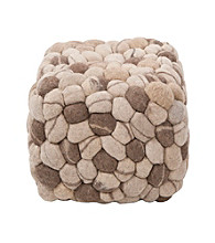 Surya Rectangular Shag Multicolor Pouf
