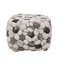 Surya Rectangular Shag Dark Multicolor Pouf