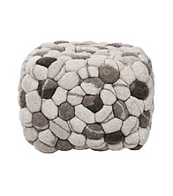 Chic Designs Rectangular Shag Dark Multicolor Pouf