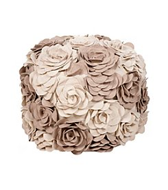 Chic Designs Round Parchment & Cobblestone Floral Pouf