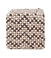 Surya Square Brown & Winter White Pouf