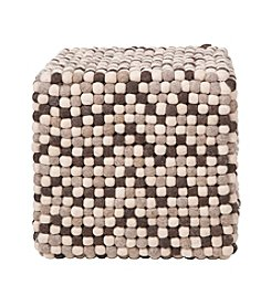 Chic Designs Square Brown & Winter White Pouf