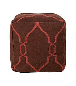 Chic Designs Square Dark Chocolate & Cerise Pouf