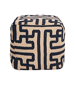 Chic Designs Square Mossy Gold & Dark Slate Blue Pouf