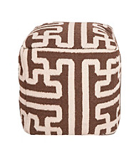 Surya Square Dark Chocolate & Parchment Pouf