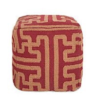 Surya Square Maroon & Brown Pouf
