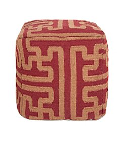Chic Designs Square Maroon & Brown Pouf
