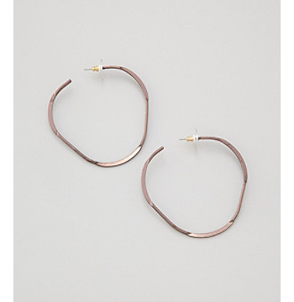 Victor by Victor Alfaro Brown Organic Hoop Earrings
