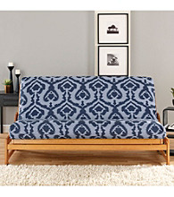 Sure Fit® Ikat Full Light Blue and Navy Futon Slipcover