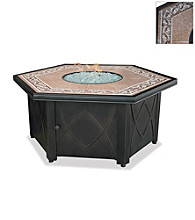 UniFlame® Beige & Brown LP Gas Firebowl with Decorative Tile Mantel