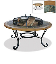 UniFlame® Earthtone Slate Tile & Faux Wood Outdoor Firebowl