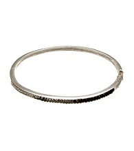 Silver-Plated Stainless Steel White/Black Crystal Bangle